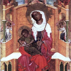 """unknown Bohemian Masters Virgin and Child Enthroned   Print - 14"""" x 28"""" unknown Bohemian Masters Virgin and Child Enthroned premium archival print reproduced to meet museum quality standards. Our museum quality archival prints are produced using high-precision print technology for a more accurate reproduction printed on high quality, heavyweight matte presentation paper with fade-resistant, archival inks. Our progressive business model allows us to offer works of art to you at the best wholesale pricing, significantly less than art gallery prices, affordable to all. This line of artwork is produced with extra white border space (if you choose to have it framed, for your framer to work with to frame properly or utilize a larger mat and/or frame).  We present a comprehensive collection of exceptional art reproductions byunknown Bohemian Masters."""