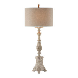 """Aidan Gray - Aidan Gray Grand Cathedral Lamp 993L - Our Grand Cathedral Candlestick was such a popular shape with its intricate carvings and worm holes that we could not resist turning it into a lamp. Standing at a impressive 42"""" this lamp is designed to create drama and draw attention to any piece it sits atop. Add to the drama with either a Oval Linen shade or a White Drum shade, part of our seasonal shade offering, for the perfect finishing touch."""