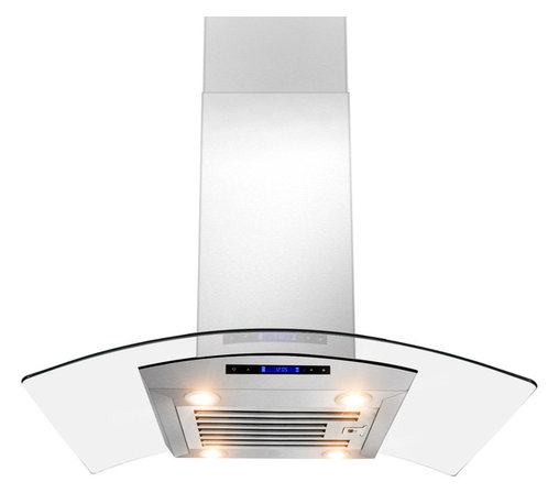 """AKDY - AKDY AK-ZD01R-IS European Stainless Steel Island Mount Range Hood, 30"""", Duct/Pip - The strength and durability of stainless steel meets the elegance of professional European design in this island mounted range hood from AKDY. This centerpiece includes an ultra quiet 870 CFM centrifugal blower, telescopic chimney that fits ceilings measuring between 8 and 9 feet, four-speed electronic touch sensitive controls with display, and a dishwasher friendly stainless steel baffle filter. With the delayed auto shut off, four 35w halogen lights, an optional ductless feature, and you'll discover an ease of use you'll quickly fall in love with. Highly stylish, professional functionality, and a cost you can afford. AKDY once again delivers on its promise of excellence."""
