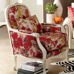 Massoud 'Christina' Chair - The bergère chair is one of my favorite styles of chair, and the combination of a classic silhouette with a modern, colorful print is so fun.