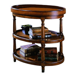 Hooker Furniture - Seven Seas Oval Accent Table - White glove, in-home delivery!  For this item, additional shipping fee will apply.  A class apart, this stylish oval accent table offers a removable serving try and turned legs. Removable serving tray features Mappa Burl, two shelves, four turned legs with brass end caps.