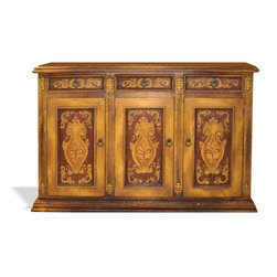 Koenig Collection - Traditional Old World Sideboard Mocha, Fresco Brown Crackle With Red And Scrolls - Traditional Old World Sideboard Mocha, Fresco Brown Crackle with Fresco Red and Scrolls
