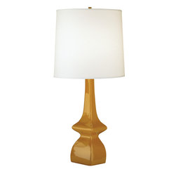 Robert Abbey - Jayne Table Lamp - You can't go wrong with a classic lamp and crisp linen shade. The warm pumpkin-glazed ceramic base is the perfect contrast to either a white or cream shade. Pair them on a side table in your living room for a cozy look.
