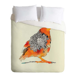 DENY Designs - DENY Designs Iveta Abolina Orange Bird Duvet Cover - Lightweight - Turn your basic, boring down comforter into the super stylish focal point of your bedroom. Our Lightweight Duvet is made from an ultra soft, lightweight woven polyester, ivory-colored top with a 100% polyester, ivory-colored bottom. They include a hidden zipper with interior corner ties to secure your comforter. It is comfy, fade-resistant, machine washable and custom printed for each and every customer. If you're looking for a heavier duvet option, be sure to check out our Luxe Duvets!