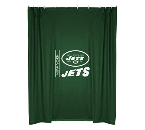 Sports Coverage - NFL New York Jets Football Locker Room Shower Curtain - Features:
