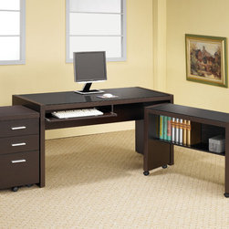 "Coaster - Skylar 3Pc Computer Desk, Cappuccino - A sleek finish and clean lines make this a great addition to your home office. Add even more storage space by using additional file cabinets as well as the bookcase, which features two storage drawers. This collection comes in a cappuccino color with silver accent hardware. Some assembly required.; Includes Computer Desk, Mobile Return and Mobile Pedestal; Contemporary Style; Finish/Color: Cappuccino; Dimensions: Desks: 60""L x 30""W x 29.50""H; Mobile Return: 34.75""L x 15.75""W x 26.75""H; Mobile Pedestal: 15.75""L x 15.75""W x 26.75""H"