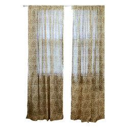 Ichcha - Toile D'or Window Curtain - The Panels are hand block printed and colored with natural dyes! The Toiles are a nostalgic reminder of our history and our craft past. They can also be paired with our block printed stripes to create a unique setting in your home.