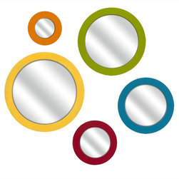 Imax Worldwide Home - Emlyn Round Bright Color Wall Mirrors - Set of 5 - These brightly colored round mirrors are a lively addition to your wall. Perfectly at home in a tween or child's room or in a bright retro decor, you are sure to love them. Set of 5.; Country of Origin: China; Weight: 7.9 lbs
