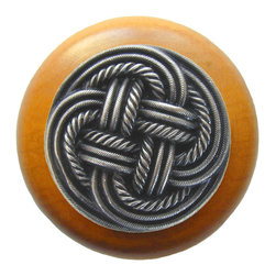 Classic Collection - Classic Weave Wood Knob in Antique Pewter/Maple