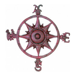 Handcrafted Nautical Decor - Antique Red Cast Iron Rose Compass 12'' - This Antique Red Cast Iron Rose Compass 12'' is   truly a great gift to any nautical enthusiast. Inspired by authentic    compasses, this rose compass features a nautical star in the middle   and  of course the directions North, South, East and West. Hang this   compass  in your nautical theme home to add a nautical flair to any wall.--12'Long x 1.5'Wide x 12'High------    Vintage red finish gives a rustic appearance--    --    Easily mountable to any room in your home--    Compass is clearly marked North, South, East, West--
