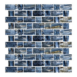 Susan Jablon Mosaics - Dark Gray Metallic Recycled Glass Tile - This 100% recycled glass tile has a dark metallic gray hue with an iridescent shimmer that glistens from the textural surface. The dimensional criss crossed lines at various angles and thicknesses make each of the glass tiles unique. Use them installed in full sheets or blend them in the mosaic tile designer for that one of a kind look. Eco-friendly never looked so good! Certified by the U.S. Green Building Council for L.E.E.D. Projects, the beauty of these recycled glass tiles prove you don't need to sacrifice to be sustainable. They are suitable for a wide range of uses, indoors and outdoors, in dry or wet locations. A custom mosaic design using these tiles can make a gorgeous, responsible, design statement in your pool, kitchen bathroom, dining room – anywhere! It is very easy to install as it comes by the square foot on mesh and it is very easy to clean! About a decade ago, Susan Jablon re-ignited her life-long passion for mosaics and has built a customer-focused, artist-driven, business offering you the very best in glass and decorative tiles and mosaics. We are a glass tile store committed to excellence both personally and professionally. With lines of 100% SCS Qualified recycled tile, 12 colors and 6 shapes of mirror, semi precious turquoise stones from Arizona mines, to color changing dichroic glass. Stainless steel tiles in 8mm and 4mm and 12 designs within each, and anything you can dream of. Please note that the images shown are actual photographs of the tiles however, colors may vary due to the calibration of each individual monitor. Ordering samples of the tiles to verify color is strongly recommended.