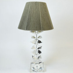 Tall Lucite Table Lamp with Stacked & Pointed Cubes and Taupe String Shade - Dimensions: L 8''  × W 8''  × H 38''