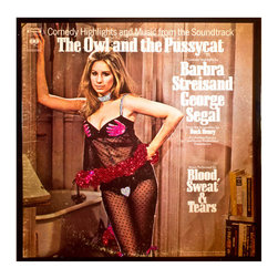 """Glittered Barbra Streisand Owl and the Pussycat Soundtrack - Glittered record album. Album is framed in a black 12x12"""" square frame with front and back cover and clips holding the record in place on the back. Album covers are original vintage covers."""