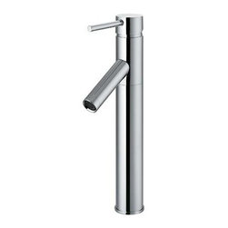 Vigo Industries - Dior Chrome Vessel Sink Faucet - Single swivel handle controls water temperature and flow rate. Single hole top mount installation. Universal ceramic disc cartridge. Installation kit included. Pop-up drain not included. Limited lifetime warranty. WaterSense Certified. Spout height: 7.25 in.. Spout reach: 3.5 in.. 5 in. L x 2 in. W x 12.5 in. H. Assembly InstructionsAdd elegance to your bath decor with this sleek and stylish chrome vessel sink faucet.