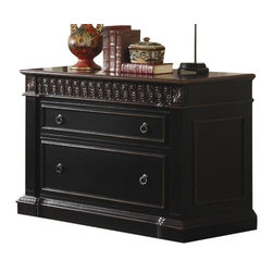 """Coaster - File Cabinet (Two-Tone) By Coaster - Features this beautiful file cabinet will add invaluable storage space to your home office. The piece features traditional detailing, including intricately carved floral trim, fluted moldings, and a plinth base. With a rich dark two tone finish, this one-of-a-kind piece will add depth to your room. A storage drawer at the top will help you keep clutter and office supplies out of sight, while a spacious lower file drawer will keep important documents in order. Antiqued metal ring pulls accent the drawer fronts for a touch of authenticity. This item will make a great addition to your home. This item is usually in stock and ships at no additional charge! Dimensions: Nicholas File Cabinet (Coaster 800924) 43"""" W x 31"""" H x 22"""" D"""