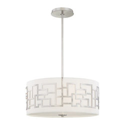 George Kovacs - Alecia's Necklace 3-Light Pendant - This pendant gets an A+ in geometry. It pairs a drum-shaped fabric shade with a brushed nickel metal design. Use it to add a cool, contemporary look over your dining or kitchen table.
