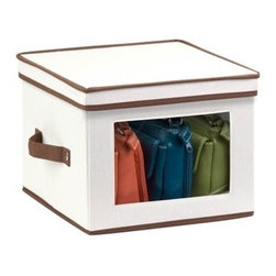Natural Canvas Medium Window Storage Box - Honey-Can-Do SFT-02063 Dinnerware Storage Box, Natural/Brown. Store up to 12 standard-sized dinner plates in this 12x12 inch storage box. The clear view window lets you easily see the contents while the lift off lid simplifies access. Protective inserts help safeguard against chips or scratches. Remove the dinnerware inserts and this storage box turns into a great closet organization tool. Store scarves, ties, socks, gloves, or hats. In classic off-white with brown accents, this stackable storage box will instantly upgrade any pantry or closet. Made of polyester and cotton canvas.