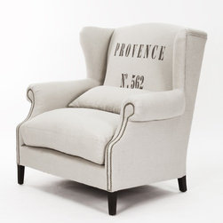 Napoleon Half Wingback Chair in Provence - I'm still crushing on the grain sack trend, and this marries the two perfectly.