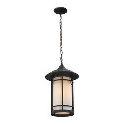 Z-Lite - Rubbed Bronze Woodland 1 Light Outdoor Pendant with Matte Opal Shade - Todays contemporary homes as well as homes of the craftsmen style are particularly well suited with the classic styling of this medium outdoor chain light. This fixture has oil rubbed bronze finish with matte opal glass.