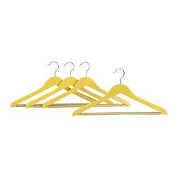 Set of 4 Yellow Wood Hangers | Crate&Barrel -