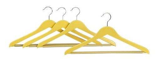Set of 4 Yellow Wood Hangers | Crate&Barrel -