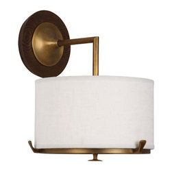 "Robert Abbey Lighting - Robert Abbey Edwin Wall Sconce - Aged Brass - Aged Brass Finish w/ Walnut Wood AccentsCream Brussels Linen Shade w/ Self Fabric Top Diffuser; 8"" Dia. Acrylic Bottom DiffuserDirect Wire OnlyShade Type: HardbackShade Dimensions: 9.5"" X 9.5"" X 5.5"" With 4"" Opening Fabric Diffuser"