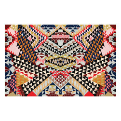 Domestic Construction - Day Tripper Floor Mat, Small - If you're looking for something completely different for your floors, this intricately patterned mat would certainly fit the bill. Originally created via paper cutouts, the unique design has been digitally dyed to the rug to give the illusion of layers of paper. The design calls for a little wild dancing, and luckily, the slip-resistant backing means you can do so without sliding away.