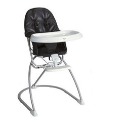 Valco Baby Astro High Chair in Graphite Black | All Modern Baby - No overwhelmingly huge high chairs for you. This compact, urban-appropriate high chair offers all of the perks of a full high chair, with a sleekness and modern leather beauty. Perfect for the baby of a motorcycle dad.