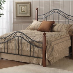 Madison Bed - Harmonize your bedroom and open up new worlds of decorating possibilities with the Madison Poster Bed. Simple wood posts with a warm cherry finish have sleek lines and ball finials for a casual contemporary look. The wrought iron headboard and footboard however feature delicate scrollwork grand arches and a mix of round and twisted spindles for a traditional Old World look. You can accessorize your room in any style you wish knowing that the end result will be cohesive and beautiful. The Madison Bed is available to purchase Headboard Only or the Complete Bed Set. Dimensions: Complete bed twin:82.5L x 41W x 50.5H in. Complete bed full: 82.5L x 56W x 50.5H in. Complete bed queen: 89.5L x 62W x 50.5h in. Headboard only Headboard twin: 41W x 50.5H in. Headboard full: 56W x 50.5H in. Headboard queen: 62W x 50.5H in. Headboard king: 78W x 50.5H in. Footboard height: 32.5 in. About Hillsdale FurnitureLocated in Louisville KY Hillsdale Furniture is a leader in top-quality affordable bedroom furniture. Since 1994 Hillsdale has combined the talents of nationally recognized designers and globally accredited factories to bring you furniture styling and design from around the globe. Hillsdale combines the best in finishes materials and designs to bring both beauty and value with every piece. The combination of top quality metal wood stone and leather has given Hillsdale the reputation for leading-edge styling and concepts.