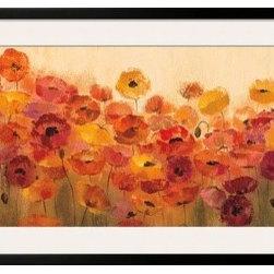 Artcom - Summer Poppies by Silvia Vassileva - Summer Poppies by Silvia Vassileva is a Framed Art Print set with a SOHO Black wood frame and a Polar White mat.