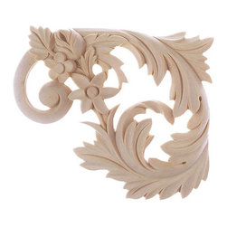 """Inviting Home - Dallas Stair Brackets (Left) - maple wood - Left stair bracket hand-carved from solid maple hardwood 5-1/2""""H x 6-1/2""""W x 5/8""""D Wooden decorative stair brackets specifications: Outstanding quality wood stair brackets carved from solid North American hardwoods including bass hard maple red oak and cherry. Decorative design is hand carved. Stair brackets are triple sanded and can be easily stained painted or glazed."""
