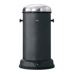 "VIPP - Black Line 4 Gallon Pedal Bin - Vipp introduces the black product line in North America. The black line has been very successful in Europe. Due to positive feedback and public demand, the classic pedal bins are now made available in the beautiful matte black finish in the US and Canada as well. Also in the series are the Vipp soap dispenser, toilet brush, laundry basket and the multifunctional mini table. The black product line is made of classic Vipp materials: finest quality stainless steel, powder coated steel and rubber. Vipp - established 1939. Still adding to the recipe for fine craftsmanship. Features: -Material: Finest quality stainless steel and rubber. -Specially designed damper mechanism for smooth closing of lid. -Ideal for kitchen, bathroom or as a diaper pail. -Customized bin liners available. -Danish design classics. -Dimensions: 20.47"" H x 11.81"" W."