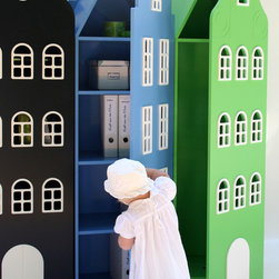 Amsterdam Cabinet - A playful design of storage closets for kids. Create your 'street' of cabinets from multiple colors and gable styles. Made of high-grade MDF and low HAP paints. Winner of the 2010 Prix Découverte at Maison&Objet, Paris.