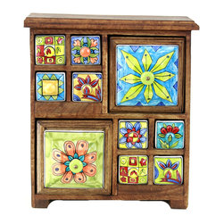 """MarktSq - Ceramic Drawer Chest - Rustic hand painted ceramic drawers ideal for storing small jewelry or other trinkets. The drawers are hand painted in different designs and the wooden chest has a rustic distressed finish. Approximate dimensions: L 12.25"""" x H 14.5"""" x W 5.25"""". This product weighs 16 lbs."""