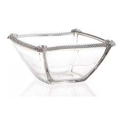 """Alan Lee Collection - Princess Collection 6"""" Glass Wave Bowl - A small 6"""" glass waved shaped bowl is adorned with hand applied cut crystal accents along the rim. Great for nuts, candies , soaps in the bathroom or anything else you can think of."""