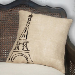 eclectic pillows Eiffel Tower, Paris - Burlap Feed Sack Pillow by Next Door to Heaven