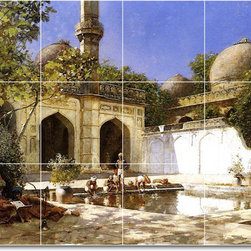 Picture-Tiles, LLC - Figures In The Courtyard Of A Mosque Tile Mural By Edwin Weeks - * MURAL SIZE: 18x24 inch tile mural using (12) 6x6 ceramic tiles-satin finish.