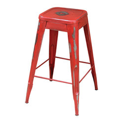 Four Hands - Rockwell Bistro Barstool, Dark Red - This refurbished iron pub stool with its lovingly aged shabby patina has industrial chic written all over it. Sit a few at a reclaimed wooden bar with antique lightbulb pendants, or mix and match it with a few other stools around a pub table for that eclectic thrift market look.