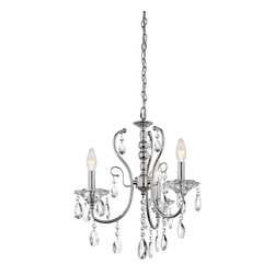 Kichler Lighting - Kichler Lighting Jules 3-Light Transitional Mini Chandelier X-HC02134 - This elegant and sophisticated 3 light mini chandelier from the Jules collection will dress up any space. It features a soft transitional look with polished chrome and perfectly placed and highly reflective teardrop crystals.