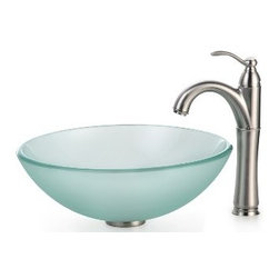 Kraus - Kraus Frosted Glass Vessel Sink and Riviera Faucet Satin Nickel - *Add a touch of elegance to your bathroom with a glass sink combo from Kraus