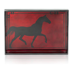 Belle & June - Burgundy Big Horse Tray - Wine o'clock? If it is, bring out this elegant red horse drink tray and serve your guests in style. Large enough for appetizers like crackers and cheese, it can double as an accent piece on your sideboard or buffet.