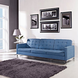 Florence Style Blue Tweet Wool Loft Sofa - The Loft Sofa offers a stunning and luxurious look that will instantly enhance any space. This mid-20th century modern leather sofa is inspired by the designs of Florence Knoll 1954 lounge collection, and has a recognizable mid-century modern style.The simple style of the Loft Sofa in wool upholstery makes for a clean, sharp look. Tufted accents create a beautiful pattern, and the couch's low profile makes the loft sofa an ideal item small space. Features a polished stainless steel frame, and high quality wool upholstery. This item is a high quality reproduction of the original. The Loft modern sofa is the preferred choice for reception areas, living rooms, hotels, resorts, restaurants and other lounge spaces.