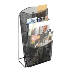 Safco - Safco Onyx Mesh 4 Pocket Magazine Rack - Safco - Magazine Racks - 5640BL - About This Product: Onyx Mesh Counter Displays make displaying your pamphlets and magazines a breeze. Made with sturdy steel mesh construction allows the literature to be easily seen and accessed. Magazine sizes come with removable dividers to allow for pamphlet storage.