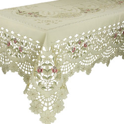Xia Home Fashions - Rose Garden 70-Inch By 120-Inch Tablecloth - Elegant roses embroidered on a lovely cutwork trellis adorn this beautiful linens collection!