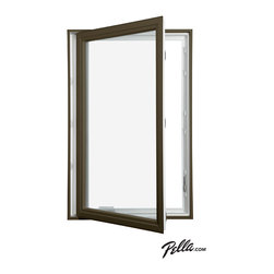 Pella® 350 Series vinyl dual-color vinyl casement window - Energy-efficient Pella® 350 Series vinyl casement windows come with the option of dual-color frames, featuring a white interior with a Brown DuraColor™ exterior.