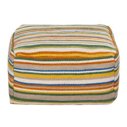 Surya - Calvin Pouf - Stand out from the crown with this multi colored square pouf. It's striped pattern is accented by colors of light cobalt, yellow, orange, taupe, and maroon.