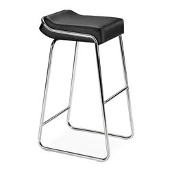 Zuo Modern - Backless Stool w Black Upholstered Wedge Seat - This highly-comfortable, space-saving design offers style and durability - as well as stability and a unique approach for your establishment or home. The base features a curved, chrome design, and the plush, thick seat is a black leatherette cushion. Go backless in this contemporary Bar Stool. Its black leatherette upholstered wedge seat has you riding high in comfort as well as style. Also available in white. * Includes 2 Stools. Black Leatherette Cushion. Chrome Steel Tube Frame. Also comes in White (see related item below). 33 in. H x 16 in. W x 19 in. L. Seat: 32 in. HZuo Modern Wedge Barstool Black