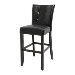 Steve Silver - Steve Silver Monarch Bar Chairs - Black - Set of 2 - SSC1645 - Shop for Dining Chairs from Hayneedle.com! Any home bar would love to count the Steve Silver Monarch Bar Chairs - Black - Set of 2 among its favorite patrons. After all these charming chairs are fully upholstered in black vinyl upholstery that s durable comfy and easy to clean. Button tufts on the seat backs add a little elegance and black-finished wood frames complete the design. About Steve Silver Since its founding in Forney Texas in 1987 the Steve Silver Company has had a simple focus: to provide the best quality product at an irresistible price back it up with uncompromising service and continue to improve every day. As one of the premier suppliers of dining sets and occasional furniture in the country Steve Silver is proud to make you the customer its top priority utilizing state-of-the-art equipment proven operating procedures and over 500 000 square feet of facilities. You'll feel equally proud displaying furniture from the Steve Silver Company in your home.