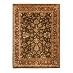 Jaipur Rugs - Hand-Knotted Oriental Pattern Wool brown/Red Area  Rug, Brown/Red, 8x10, Jhanki - Jaipur 's most popular collection, Atlantis, merges traditional patterns with sophisticated and distinctive color stories rooted in blue, brown, ebony, gold, and red. Hand-knotted by master artisans, this stunning range boasts world-class hand-spun wool and an exceptional weave. Atlantis melds the classic beauty of hand-knotting with the palettes coveted by today's new traditionalist.