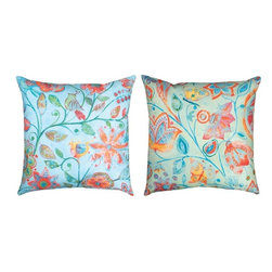 """Manual - Pair of """"Tweet Floral"""" Reversible Indoor / Outdoor Throw Pillows - This pair of 18 inch by 18 inch woven throw pillows adds a wonderful accent to your home or patio. The pillows have (No Suggestions) weatherproof exteriors, that resist both moisture and fading. The fronts of the pillows feature a print of birds and flowers, the back sides feature butterflies and flowers. They have 100% polyester stuffing. These pillows are crafted with pride in the Blue Ridge Mountains of North Carolina, and add a quality accent to your home. They make great gifts for flower, bird and butterfly lovers."""